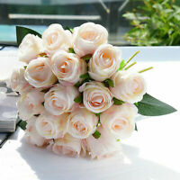 18 Heads Silk Rose Artificial Flowers Fake Bouquet Home Party Wedding Decor D5A0
