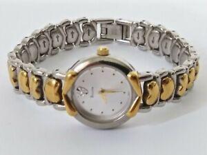 Vintage bulova womens watch 2 tone gold white dial quartz NEW BATTERY