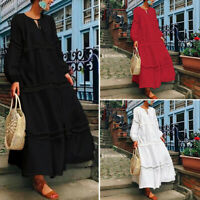US STOCK Womens Long Sleeve Loose Casual Evening Dress Ladies Solid Shirt Dress