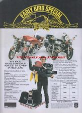 """Harley Davidson """"Early Bird Special"""" Motorcycle 1981 Magazine Advert #1604"""