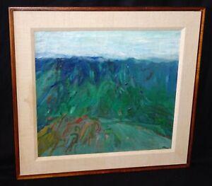 "1961 Hawaii Framed Oil Painting ""Blue Ridge"" by Reuben Tam (1916-1991)(TaF)"