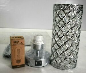 Crystal Touch Control Table Lamp 3-Way Dimmable Bedside Nightstand Sparkle USB