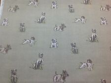 NEW !! FRYETT`S Cotton POOCH Dog Print Fabric for Curtain/Upholstery/Craft