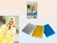Disposable Waterproof Rain Poncho Many Colours Mac Coat Cape Festivals