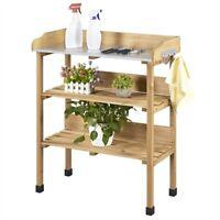 Garden Potting Bench Table w/Storage Shelf Workbench w/Hook And Metal Tabletop