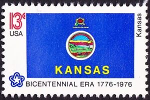 US - 1976 - 13 Cents Kansas State Flag Commemorative Issue #1666 Mint F-VF Nice