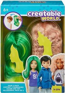 Creatable World Pink Curly Green & Yellow Wavy Long Wigs H-294 Wig