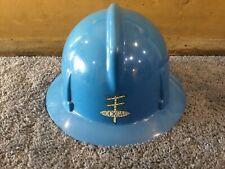 Vintage Msa Shockgard Lineman Worker Full Brim Safety Hard Hat Plastic Blue