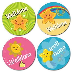 144 Well Done Stickers - School Rewards Teachers Award - CUTE STAR kids