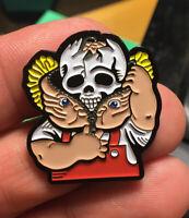GPK enamel pin Bony Tony Garbage Pail Kids retro 80s hat lapel bag skull zipper