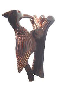Vintage Old Antique Finish Red Woodpecker Bird Shape Handmade Brass Door Knocker