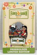 Disney Epcot Flower & Garden Festival 2017 Lilo & Stitch Passholder Pin LE 7000