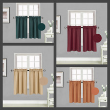 "1 Set 2-Panels Rod Pocket Silky Window Curtain Lined Blackout RS5 30""X 36"" each"