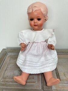 Gut erhaltene Schildkröt Puppe Erika, Größe 49cm im Rosa Kleidchen