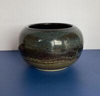 Vintage Art Pottery Bowl Planter Signed Blue Neutrals Glaze