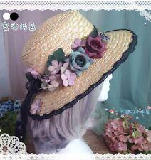 Mori Girl Idyllic Women Lace Flower Ribbon Straw Hat Beach Sun Hat Lolita Summer