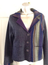 Sparrow Multi Color Cardigan/Coat Knotched Lapel 100% Lambswool Felted Seams M