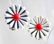 Daisy Enamel Clip Earrings 1960s vintage Fabulous Mod Red, White & Blue