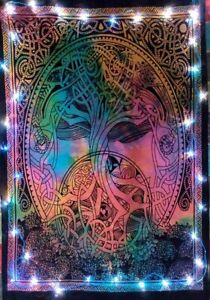 Celtic Knot Tree Tie Dye Hippie Wall Hanging Dorm Decor Poster Tapestry Dry Tree