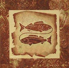 DECORATIVE TAPESTRY PILLOW COVER Zodiac Sign Pisces / Two Fish EUROPEAN ACCENT