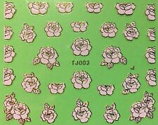 Nail Art 3D Decal Stickers Metellic Rose Pretty Pink & Gold TJ003