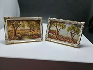 Pair of Australian Water Colours Miniatures  Art Landscape -Signed J Wilson