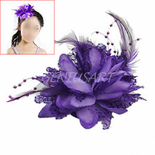 Feather Flower Bead Wrist Corsage Brooch Pin Hair Clip Bridal Fascinator Purple