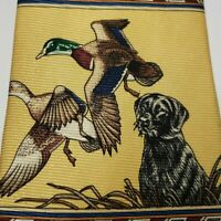 Vintage Ducks Unlimited Neck Tie All Silk Made In The USA Yellow Ducks & Lab