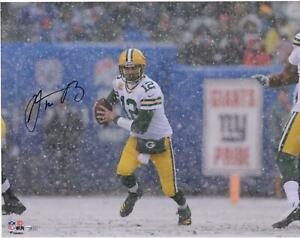 """Aaron Rodgers Green Bay Packers Autographed 16"""" x 20"""" Snow Photograph"""