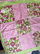 Floral Pink Green Baby Blanket Quilt 32 x 32 inches