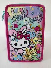 Astuccio Scuola Seven Hello Kitty Rosa triplo completo 3 Zip 20x12x7 cm