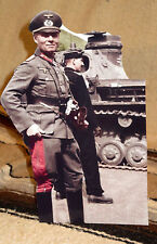 "German WW 2 General Erwin Rommel Colorized Photo Standee 10.5"" Tall"