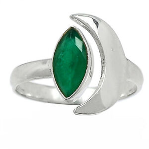 Crescent Moon - Emerald - India 925 Sterling Silver Ring Jewelry s.8 BR97397
