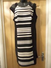 BLACK WHITE BEIGE STRIPE INTERVIEW PARTY DRESS SZ 12 14 CLASSY KNEE LENGTH DRESS