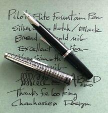 Pilot Elite, Pocket Fountain Pen, Soft 18k Gold Broad Nib, Silver Cross Hatch