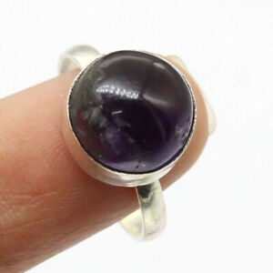 Amethyst 925 Silver Plated Handmade Gemstone Ring of US Size 7 Ethnic Gift