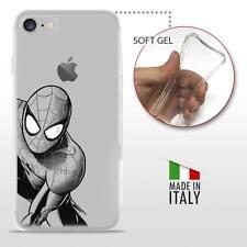 iPhone 7 TPU CASE COVER GEL PROTETTIVA TRASPARENTE DC MARVEL BLACK Spider Man