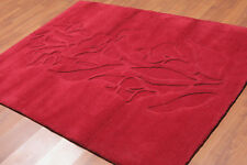 """4'8"""" x 6'8"""" Handmade Sculpted 100% Wool High Low Pile Area Rug AOR9850 Red"""