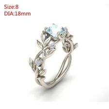 Noble Women 925 Silver Floral Ring Transparent Aquamarine Wedding Jewelry Sz6-11