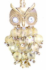 Vintage retro style antique gold coloured chandelier owl necklace