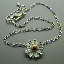 Silver Tone Cute Daisy Flower Adjustable Chain Anklet / Ankle Bracelet UK Seller