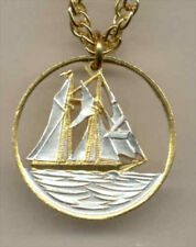Cut Coin Necklace Cayman Is. Sail Boat Pendant Nautical Jewelry Free Shipping