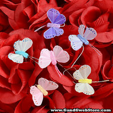 """New 1.5"""" Fake Artificial Feather Assorted Butterflies with Wire 12pcs Butterfly"""