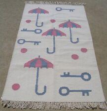 Vint Hand Woven Rug Kilim Flat weave Wool 3x5 LN Keys Pink Blue balls Umbrellas