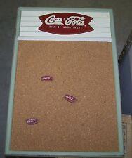 COCA COLA FISHTAIL LOGO CORK MEMO MENU BOARD W/ 3 FISHTAIL PINS NEVER USED
