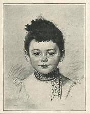 ANTIQUE DARK EYED BOY HAIR CHILD PORTRAIT ARTIST E. DUEZ SMALL ART SCARCE PRINT