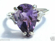 2.5 Carat Purple Amethyst Ring Sterling Silver .925 Pear Tear Drop Cut