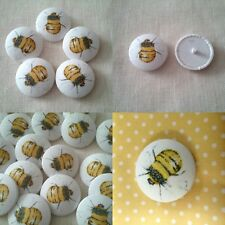 Bee buttons. cotton fabric covered buttons. Size 40mm x 5 in a pack. STUNNING!!