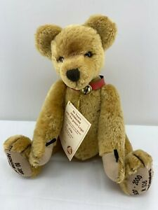 """Hermann Mohair Jointed Bear Growler 506 Green Logo 15"""" Limited Ed. #506 of 1000"""