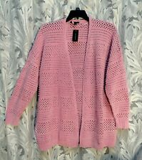PINK OPEN WORK CHENILLE SHIMMER CARDIGAN SWEATER JACKET TOP~22~24~3X~4X~NEW